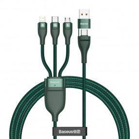 Cablu incarcare rapida BASEUS 4in1 USB/Type C 100W 5A PD QC - verde