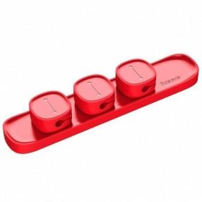 Organizator de cabluri magnetic Baseus Peas Cable Clip cu banda adeziva - Rosu