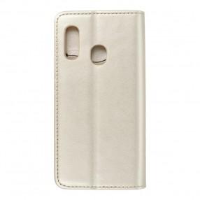Husa Samsung Galaxy A20e Magnet Book tip carte  cu magnet, piele ecologica - gold