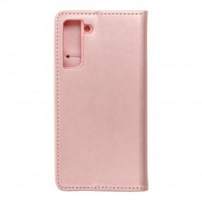 Husa Samsung Galaxy S21 Magnet Book tip carte  cu magnet, piele ecologica - rose gold